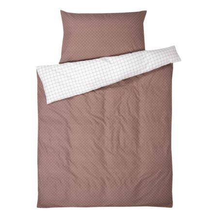 Bettwäsche mit Punkten und Raster