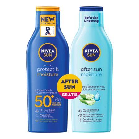 Nivea Sun Protect & Moisture Sonnenmilch LSF 50 200 ml + After Sun Moisture Lotion 200 ml