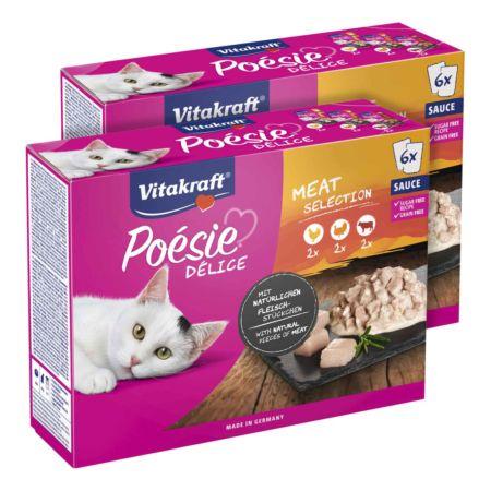 Vitakraft Cat Liquid Snack Rind + Katzengras & Inulin 12 x 15 g