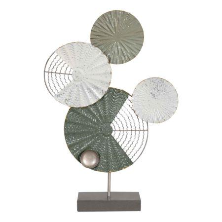 Metall-Deko mit runden Ornamenten grün 37 x 56.5 cm