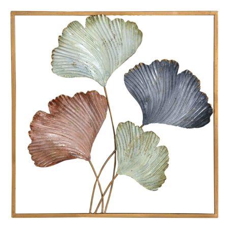 Wandbild Blätter grün/bronze 50 x 50 cm