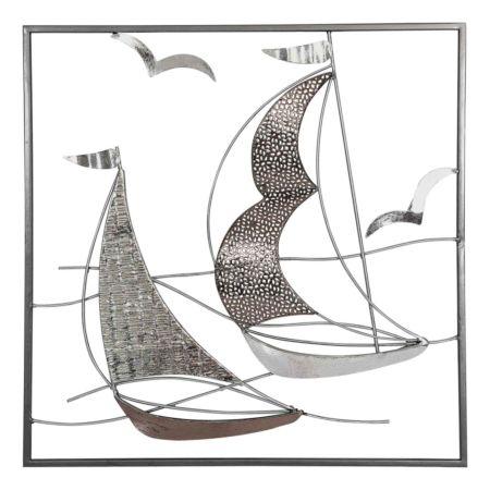 Wandbild Schiffe silber/bronze 50 x 50 cm