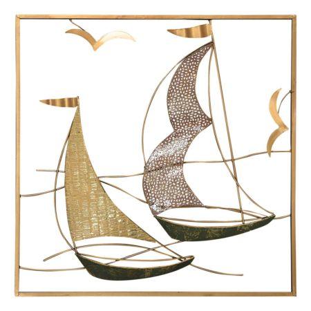 Wandbild Schiffe gold/bronze 50 x 50 cm