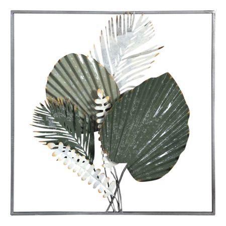 Wanddekoration mit Blätter grün 50 x 50 cm