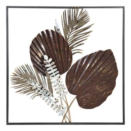 Wanddekoration mit Blätter bronze 50 x 50 cm