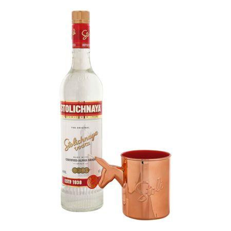 Stolichnaya Vodka 40% 70 cl + Mug Mule im Set