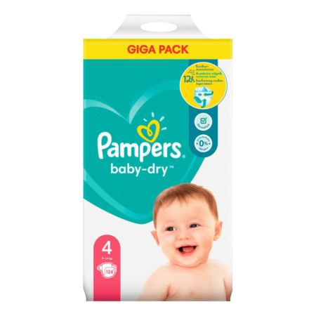 Pampers Baby-Dry Gr. 4, 9-14 kg, 124 Windeln