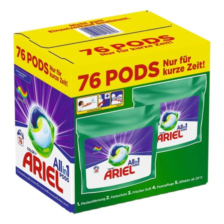 Ariel Waschmaschinenpods All-in-1 Color 2 x 38 Waschgänge