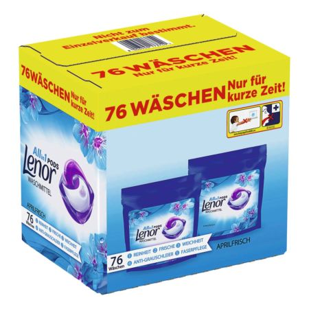 Lenor Waschmittel Pods All-in-1 Aprilfrisch 2 x 38 Pods