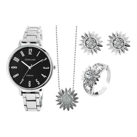 Excellanc Schmuckset mit Uhr, Ohrstecker, Halskette und Ring silber