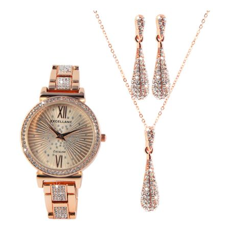 Excellanc Schmuckset mit Uhr, Ohrstecker und Halskette roségold