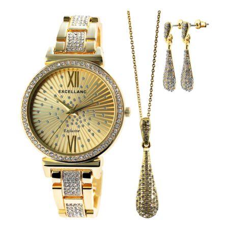 Excellanc Schmuckset mit Uhr, Ohrstecker und Halskette gold